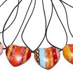 ZK0001-32 Kette Herz African Sunset Speckstein color 3 cm und Lederband Kenia