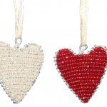 KE0002-2 Herzanhänger Glasbeats rot und silber flach 5 x 0,5 cm Kenia