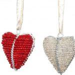 KE0002-3 Herzanhänger Glasbeats rot und silber bauchig 5 x 0,5 cm Kenia