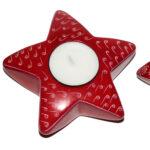 SP0132-2 Stern Teelichthalter Speckstein Grafik rot 11-12 cm Kenia