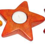 SP0132-22 Stern Teelichthalter unicolor sponged 11-12 cm Kenia
