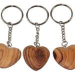 ZZ0035-0 Schlüsselanhänger Herz Olivenholz flach + bauchig 3,5 cm Kenia