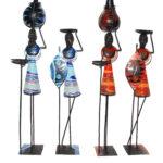 KE0001-1 bis KE0001-3 Kerzenständer Massai Figur Metall und Glasbeats verschiedene Farben 45 cm-160 cm Kenia
