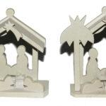 SP0014-3 Krippe naturfarben mit Tanne oder Palme 10-12 cm Kenia